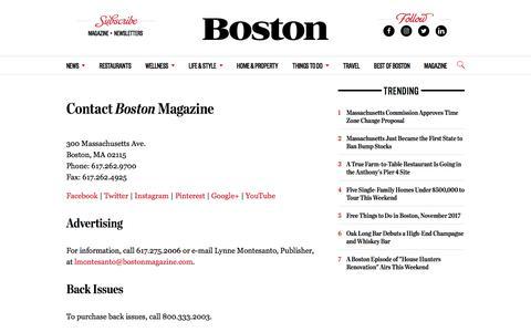 Contact - Boston Magazine