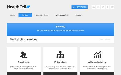 Screenshot of Services Page healthcell.com - Medical billing services - captured Sept. 29, 2014