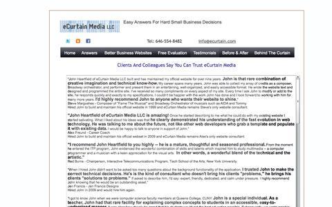 Screenshot of Testimonials Page ecurtain.com - eCurtain Media LLC | SBA | Small Business Ideas | Small Business Solutions | John Heartfield | Trusted Expert - captured Oct. 3, 2014