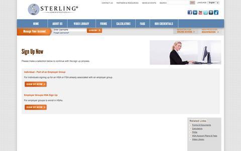 Screenshot of Signup Page sterlinghsa.com - Sterling HSA - captured Sept. 19, 2014