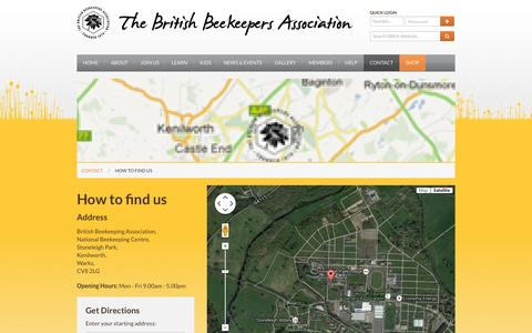 Screenshot of Maps & Directions Page bbka.org.uk - How to Find Us - British Beekeepers Association (BBKA) - Supporting honey bees in Britain - captured Jan. 30, 2016