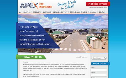 Screenshot of Privacy Page apexhomeimprovements.com.au - Apex Home Improvements | Privacy Policy - captured May 30, 2017
