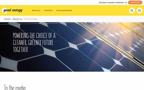 Screenshot of Press Page goodenergy.co.uk - In the media | Good Energy LTD - captured June 12, 2018