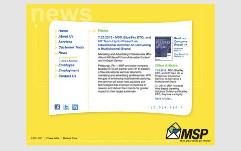 Screenshot of Press Page msp-pgh.com - MSP - How Great Ideas Get Mailed - captured Oct. 1, 2014