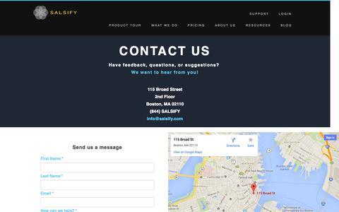 Screenshot of Contact Page salsify.com - Contact Us - captured Sept. 17, 2014