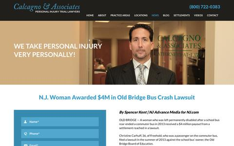 Screenshot of Press Page nynjlaw.net - Old Bridge NJ Bus Crash Lawsuit | Calcagno & Associates - captured July 11, 2017