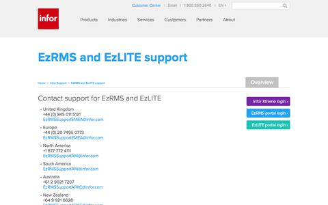 Screenshot of Support Page infor.com - EzRMS and EzLITE support - captured Jan. 14, 2017