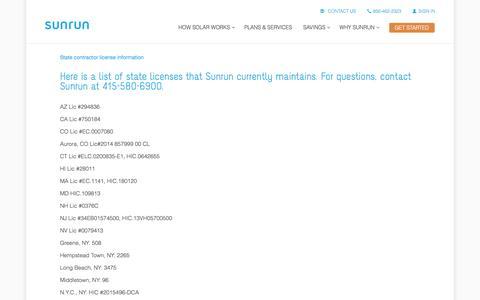 Screenshot of sunrun.com - State contractor license information   Sunrun - captured March 19, 2016