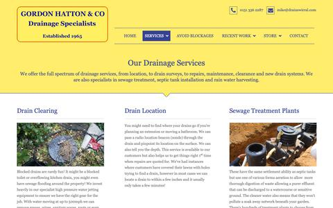 Screenshot of Services Page drainswirral.com - Drainage Maintenance Wirral | Our Drain Services | Wirral - captured Sept. 29, 2018