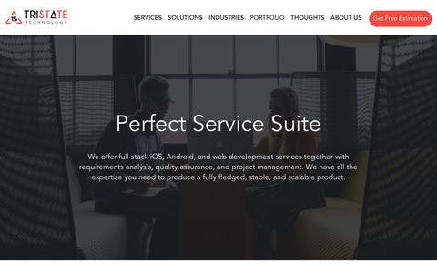 Screenshot of Services Page tristatetechnology.com - Mobile Development and Web Development Services - captured Aug. 14, 2019