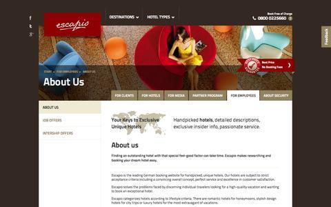 Screenshot of Jobs Page escapio.com - About Us | Escapio Corp - captured Sept. 16, 2014