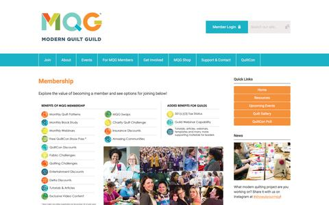 Screenshot of Signup Page themodernquiltguild.com - Membership - captured Sept. 21, 2018