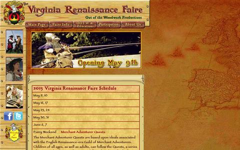 Screenshot of Home Page varf.org - The Virginia Renaissance Faire 'such stuff as dreams are made on.' - captured Oct. 6, 2014