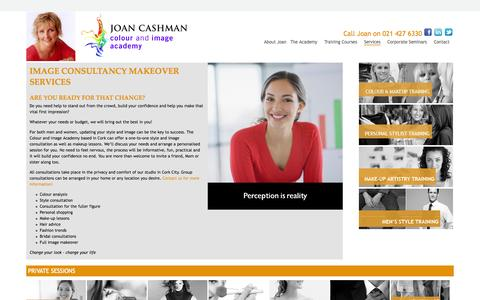 Screenshot of Services Page colourandimage.ie - Colour analysis, fashion styling advice and Make up lessons, Cork - captured Oct. 9, 2014