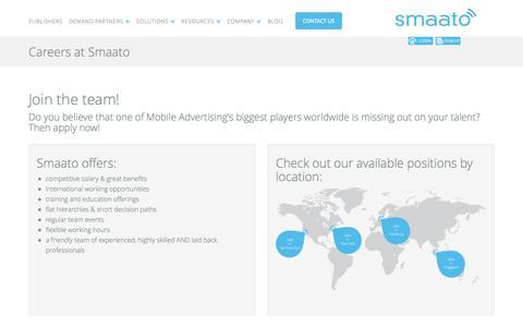 Screenshot of Jobs Page smaato.com - Smaato Jobs - captured Sept. 17, 2014