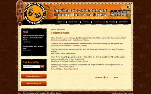 Screenshot of Testimonials Page drumjam.co.uk - Drum Jam - Testimonials - captured Oct. 5, 2014
