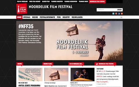 Screenshot of Home Page noordelijkfilmfestival.nl - Noordelijk Film Festival   Een activiteit van Film in Friesland - captured Sept. 30, 2014