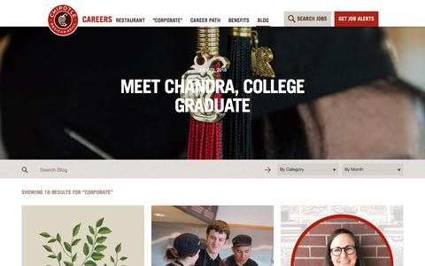 """Screenshot of Jobs Page chipotle.com - """"Corporate"""" Archives - Chipotle Careers Blog - captured Sept. 25, 2018"""