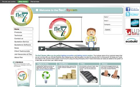 Screenshot of Home Page flexconnectors.co.uk - The flex7 System: Lighting connection and lighting control Solution - Flex Connectors - captured Oct. 6, 2014