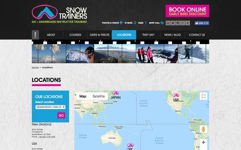 Screenshot of Locations Page snowtrainers.com - NZ Ski, USA,  Niseko - Snow Trainers Locations - Snow Trainers - captured Sept. 20, 2018