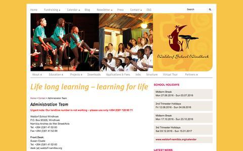 Screenshot of Team Page waldorf-namibia.org - Administration Team   Waldorf School Windhoek - captured June 6, 2016