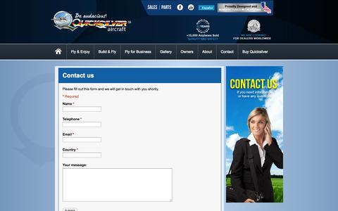 Screenshot of Contact Page quicksilveraircraft.com - Quicksilver Aircraft - captured Nov. 4, 2014