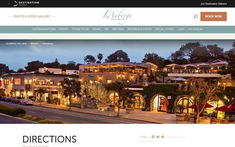 Screenshot of Maps & Directions Page destinationhotels.com - Del Mar CA Hotels | L Auberge Del Mar - Location & Directions - captured Sept. 23, 2018