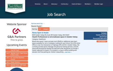 Screenshot of Jobs Page twinwest.com - Job Search - TwinWest Chamber of Commerce, MN - captured Dec. 2, 2016
