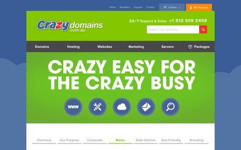 Screenshot of Press Page crazydomains.com.au - View Our Crazy Domain Media Campaign, Making Waves Online - captured Nov. 24, 2015