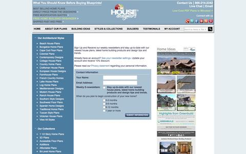 Screenshot of Signup Page thehousedesigners.com - House plans home plans from The House Designers  - captured Jan. 30, 2016