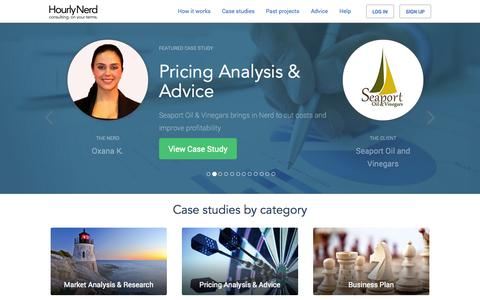 Screenshot of Case Studies Page hourlynerd.com - Featured Case Studies   HourlyNerd - captured Oct. 28, 2014