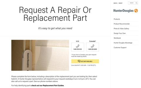 Request a Repair or Replacement Part  | Hunter Douglas