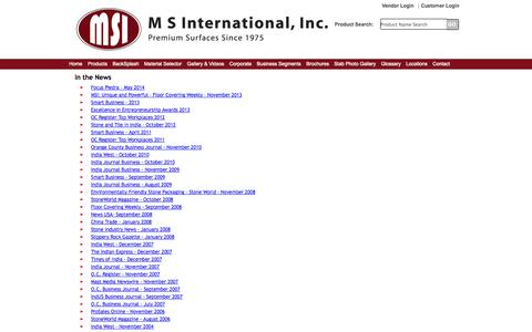 Screenshot of Press Page msistone.com - In the News | M S International, Inc. | Premium Surfaces - captured Sept. 19, 2014