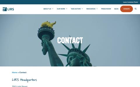 Screenshot of Contact Page lirs.org - Contact | LIRS - captured Dec. 13, 2018