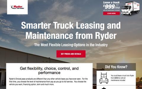Screenshot of Landing Page ryder.com - Flexible Truck Leasing Solution - Ryder - captured Aug. 26, 2016