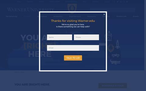 Screenshot of Maps & Directions Page warner.edu - Map - Warner University - captured Oct. 19, 2017