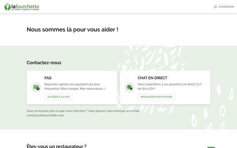 Screenshot of Contact Page lafourchette.com - LaFourchette - captured Feb. 12, 2020