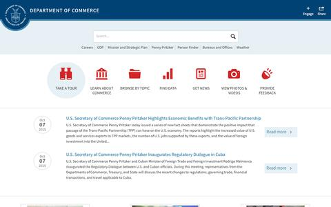 Screenshot of Home Page commerce.gov - Department of Commerce - captured Oct. 14, 2015