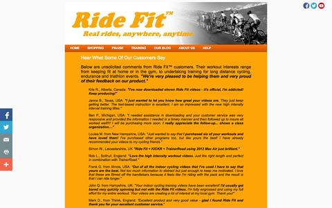 Screenshot of Testimonials Page ride-fit.com - Hear What Customers Think Of Ride Fit's Virtual Indoor Cycle Training Videos - captured Sept. 30, 2014
