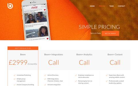 Screenshot of Pricing Page wearebeem.com - Beem | the world's leading Employee App - captured Feb. 7, 2016