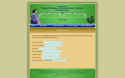 Screenshot of Signup Page ehis64.net - Registration - Emlyn Hughes International Soccer - captured June 24, 2016