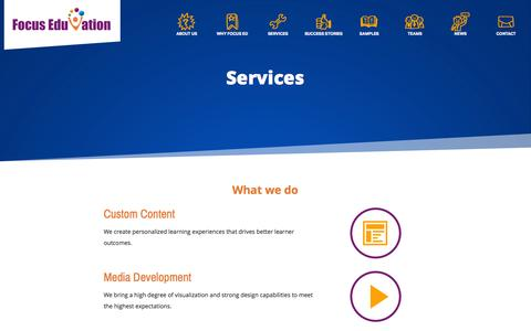 Screenshot of Services Page focuseduvation.com - Custom e-Learning & Web-based Training Services - Focus EduVation - captured Oct. 29, 2014