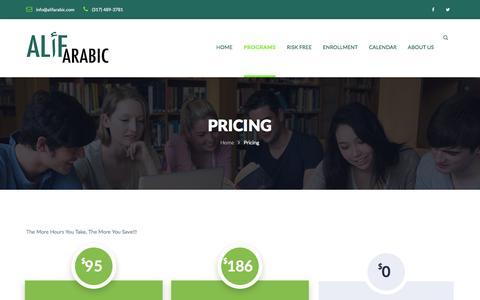Screenshot of Pricing Page alifarabic.com - Pricing – Alif Arabic - captured July 25, 2016