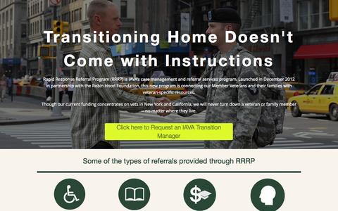 Screenshot of Landing Page iava.org - rrrp | Iraq and Afghanistan Veterans of America - captured Oct. 27, 2014