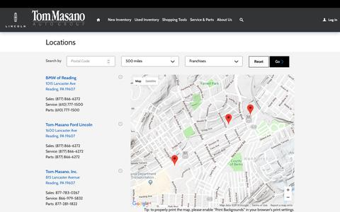 Screenshot of Locations Page tommasano.com - Tom Masano Auto Group | New Mercedes-Benz, Ford, Lincoln, BMW dealership in , - captured Oct. 18, 2018