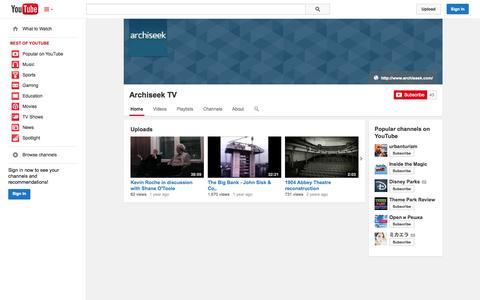 Screenshot of YouTube Page youtube.com - Archiseek TV  - YouTube - captured Oct. 23, 2014