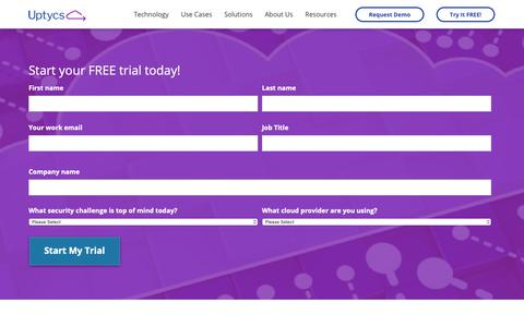 Screenshot of Trial Page uptycs.com - Free Trial – Uptycs - captured Jan. 17, 2019