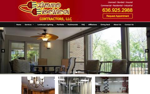 Screenshot of Home Page extremeelectricalstl.com - Extreme Electrical | Electrical Contractors in O'fallon Missouri - captured Jan. 22, 2016