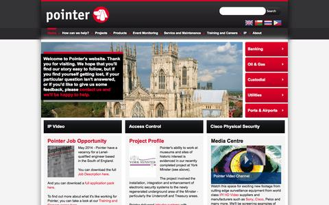 Screenshot of Home Page pointer.co.uk - Pointer Ltd Security and Fire Systems Integrators - captured Sept. 26, 2014