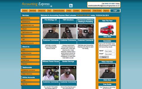 Screenshot of Testimonials Page accountingexpress.co.uk - Testimonials - captured Oct. 4, 2014